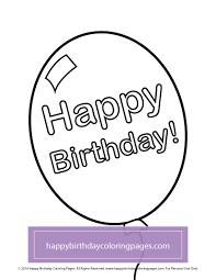 Happy Birthday Balloons Coloring Page 018