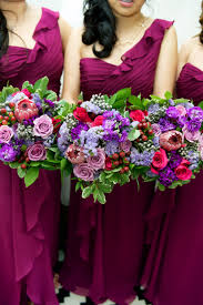 Jewel Toned Bouquet by Dandie Andie Floral Designs and Boakview Photography  Sangria dresses and bouquets by Dandie Andie Floral Designs and Boakview ...