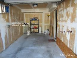 the garage is a one car garage and measures 20 x 9 it took drywall compound and sheetrock squares to patch up the small and large holes in walls and