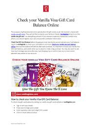 You may also want to see how much. Check Your Vanilla Visa Gift Card Balance Online By Vanila Gift Issuu