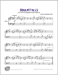 bach sheet music piano minuet in g bach easy piano sheet music digital print