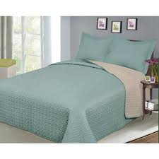 Luxury Fashionable Reversible Solid Color Bedding Quilt Set, Camel ... & Luxury Fashionable Reversible Solid Color Bedding Quilt Set, Camel/Sage Adamdwight.com