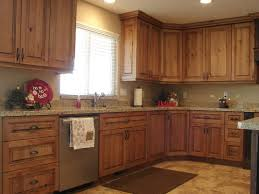 excellent kitchen l shape kitchen design and decoration using light brown rustic cherry kitchen cabinets including with l shaped kitchen rug
