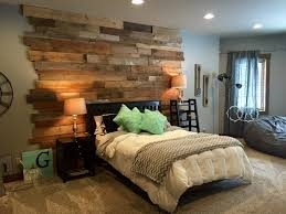 staggered barnwood wall rustic bedroom