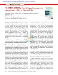 Pdf Morbid Obesity Anesthesia And Perioperative Management