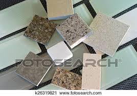 backsplash tiles and quartz countertop samples stock photography