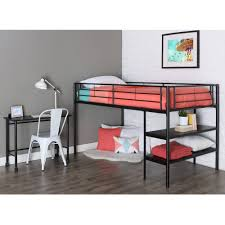 full size of twin metal loft bed with desk and shelving black com instructions 02329003