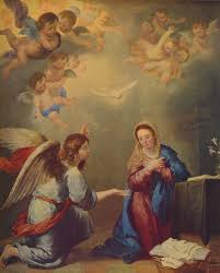 painting of the annunciation with mary surrounded by angels