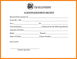 Acknowledgement Of Letter Received Check Received Form Bb Fee Chart Xs Format Payroll Receipt