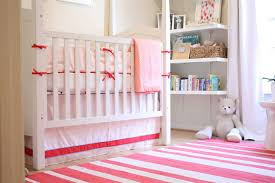 cute design ideas convertible furniture. Wonderful Striped White Pink Area Rug Plus Simple Shelves Also Minimalist Convertible Crib For Cozy Baby Girl Nursery Design Ideas Cute Furniture E