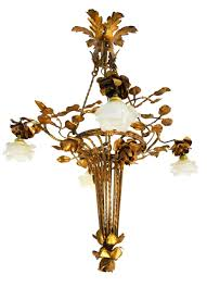 arts and crafts chandelier gilded iron tole fl bouquet frosted glass shades