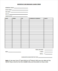 Car Mileage Claim Form 49 Claim Forms Examples