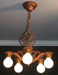 antique original colors polychrome cast art deco light fixture chandelier period