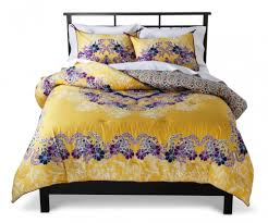 Endearing Yellow Purple Floral Target Bedspreads With White Linen Pillow  Cases And Black Wooden Bed Frame For Gorgeous Bedroom Ideas