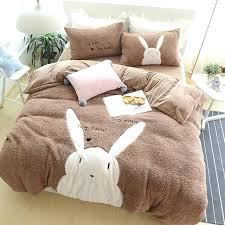 thick comforter sets bear bedding sets cartoon bear rabbit style cashmere bedding set thick duvet cover