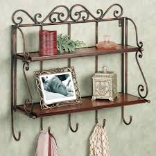 furniture brown carving wrought wall shelves with double brown racks complete with five cloth hanger