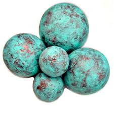 Decorative Sphere Balls Stunning Copper And Turquoise Blue Handmade Papier Mache Accent Balls Set Of