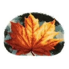 vervaco latch hook kit shaped rug autumn leaf pn 0170508
