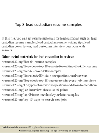 Custodian Resume Simple Top 28 Lead Custodian Resume Samples
