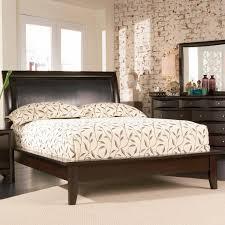contemporary california king platform bed with vinyl panel headboard