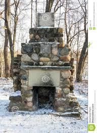 field stone outdoor fireplace