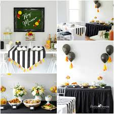 Black White and Citrus Baby Shower | PartiesforPennies.com | Mamas &  Mocktails #babyshower. DECORATIONS: