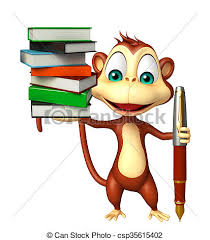 fun monkey cartoon character with book and pen csp35615402