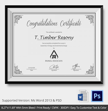 Congratulations Certificates Templates Congratulations Certificate Template 10 Word Psd