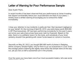 Employee Performance Letter Sample Template Warning Letter Employee Poor Performance Letters