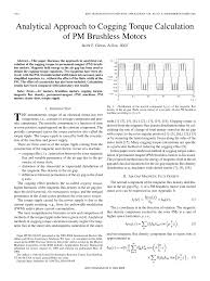 pdf ytical approach to cogging torque calculation of pm brushless motors