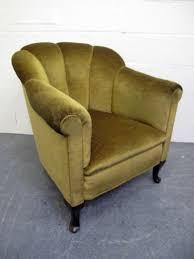 vintage chair. Art Deco Shell Armchair Green Velvet Vintage Chair