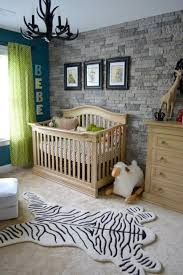 baby furniture ideas. Antler Chandelier Also Stone Accent Wall Idea Feat Comfortable Baby Nursery Furniture And Awesome Zebra Pattern Ideas