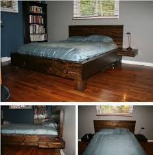 homemade wooden beds. Beautiful Wooden Bed With Floating Nightstands And Homemade Wooden Beds D
