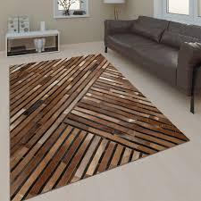 Teppich Wohnzimmer Leder Wolle Streifen Braun
