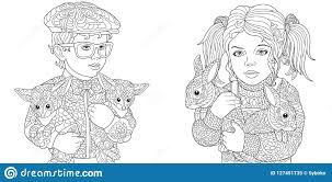 Coloring Pages With Children Stock Vector Illustration Of Drawn
