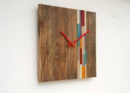 reclaimed wood wall clock modern large