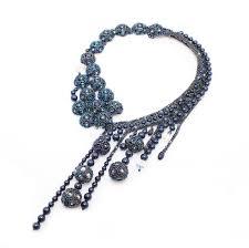 Swarovski <b>pearl</b> Statement <b>Necklace</b> Navy <b>blue</b>, <b>Unique</b> crystal bib ...
