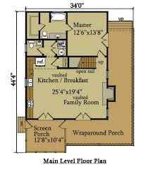 cabin floor plans. Little River Cabin Plan With Wraparound Porch Floor Plans O