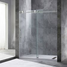 quickview woodbridge frameless sliding shower door 56 60 width