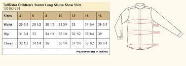 Rj Classics Show Shirt Size Chart Tuffrider Childrens Starter Long Sleeve Show Shirt