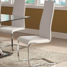 set of 4 modern dining white faux leather dining chairs with chrome legs