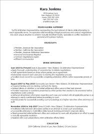 Arbitration Representative Resume Template Best Design Tips