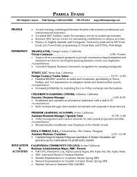 Business Resume Template Inspiration Resume Templates Objective For A Business Resume Profile Of Award