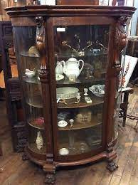 Glass shelf curio cabinet clear and black. Antique Carved Oak China Cabinet Curved Glass 66 25 H Ebay