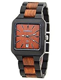 amazon co uk bewell watches bewell men s natural wooden watches square watch face noble quartz wristwatches for men w110a