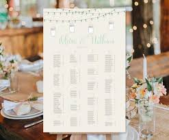 Wedding Seating Chart Poster Hanging Lights Mason Jars Mint Gray Print Ready Digital File