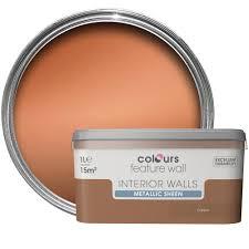 Colours Feature Wall Copper Effect Metallic Emulsion Paint 1L | Departments  | DIY at B&Q
