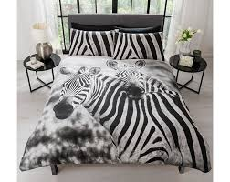 photographic print double bedding with chic zebra print pillowcases available in duvet sets single