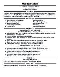 Medical Receptionist Resume Receptionist Resume Objective Receptionist Resume Is Relevant With 68