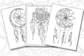 Dream Catchers Coloring Pages Set Of 3 Printable Pdf Files